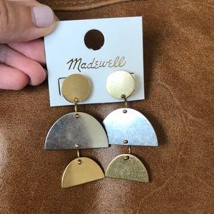 Madewell Brass & Silver Geometric Earrings